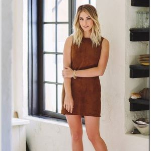 NWT Cupcakes and cashmere suede brown shift dress